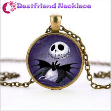 Nightmare Before Christmas skull balck  jack and cat bronzenecklace#TKL12