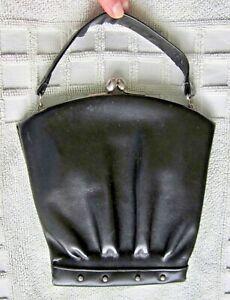 Genuine VINTAGE 1930s Art Deco black leather bag/handbag with top strap & mirror