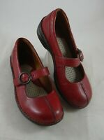 Born Red Leather Mary Jane Shoes Womens sz6 EUR 36.5  W51258 Strap Buckle