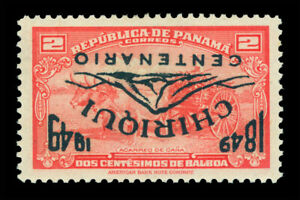 PANAMA 1949 Airmail CHIRIQUI CENTENARY 2c red Sc# C108b mint MNH  INVERTED Ovpt.
