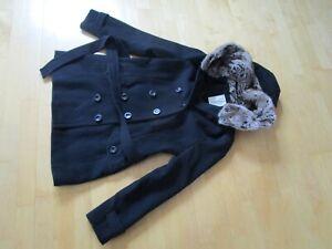 Esprit Winterjacke Mantel Gr.38 schwarz Fellkapuze Bindegürtel ausgefallen