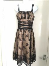 Awear size 8 black floral lace overlay lined sleeveless strappy dress ladies