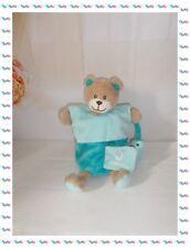 P  - Doudou Marionnette Ours Alphabet Bleu Vert O Comme Ours Poisson Babynat