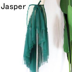 Sheer Women Ruffle Tulle Wrap Skirt Asymmetric Length 65cm Summer Beach Dance