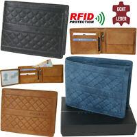 Herren Geldbörse geprägtes Leder Klassischer Bi-fold Geldbeutel mit RFID-Schutz