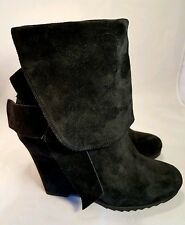 Juicy Couture woman boots wedges platform black suede with back zipper ankle 7M