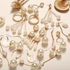 Boho Fashion Womens Gold Silver Plated Crystal Pearl Hoop/Drop Ear Stud Earrings