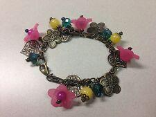 "Handmade Bracelet Charm 6.5"" Vintage Brass Metal Pink Dragronfly Flower Stone"