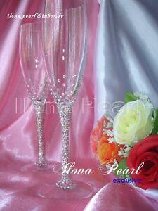 Swarovski Rhinestones Wedding Toast Glass Mr Mrs Bride Groom Bling Unique
