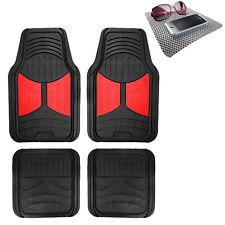 Universal Fitment Floor Mats for Auto Car SUV Van Rubber Red Black w/ Dash Mat