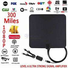 300 Mile Ultra Thin Flat Indoor HDTV Amplified HD TV Black Antenna US For Fosmon