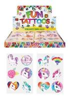 24 x Girls UNICORN Temporary Tattoos Children's Party Loot Bag Fillers
