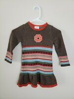Hanna Andersson Toddler Girl's Sweater Dress Flower 100% Cotton Size 80 (2)