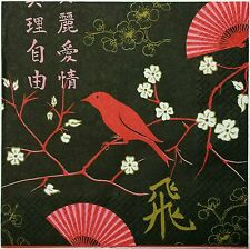 BIRD SEEN ASIA BLACK 2 single LUNCH SIZE  paper napkins for decoupage 3-ply