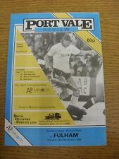 26/11/1988 PORT VALE V Fulham. l'oggetto sembra essere in buone condizioni a meno che non pre