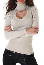 ♥ SeXy Miss Damen Bolero Pullover Pulli Rolli V Dekollete Strass 34/36/38 Beige