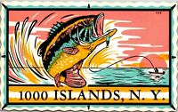 Postcard NY Thousand Islands New York Sticker Fishing Vintage