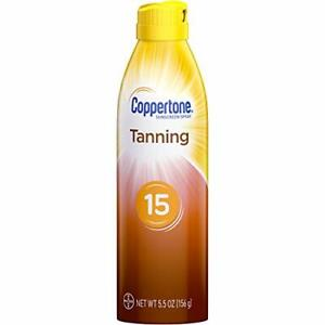 Coppertone Tanning Dry Oil Sunscreen Continuous Spray SPF 15, 5.5 Ounce