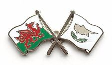 Wales & Cyprus Flags Friendship Courtesy Enamel Lapel Pin Badge