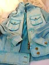 LOT: Jaquette Style Jean Bleu-Turquoise Femme T.3 + 2 T-S Maille Assortis / NEUF