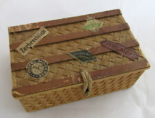 German Christmas Dresden Candy Container Box Wicker Luggage Trunk Travl Ornament