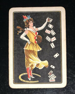 Playing Swap Cards 1 Old English Wide  Herringbone Lady Playing Cards