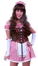 ★ Oktober Karriert Dirndl Dirdnlkleid ,Trachtenkleid kleid 3tlg Rot Sexy 36,38 M