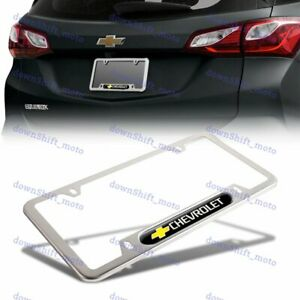 1PCS For CHEVY CHEVROLET Black Silver Metal Stainless Steel License Plate Frame