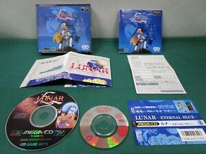 Mega CD Lunar Eternal Blue. premium CD, spine card, map, postcard. *JAPAN* 14698