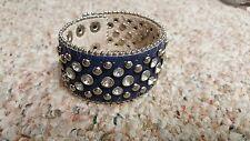 Ladies Blue Glitz Rhinestone Leather Cuff Bracelet Bling Fashion Jeweled Crystal