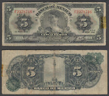 Mexico 5 Pesos 1941 (VG-F) Condition Banknote P-34c
