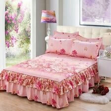 Home Bedroom Thick Bed Skirt Double Cover Sheet Queen Size Soft Bed Skirt