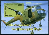 Tanzania Aviation Stamps 2007 MNH First Helicopter Flight Helicopters 1v S/S
