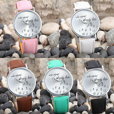 Unisex Men Women Classic Analog Stainless Steel Leather Strap Wrist Quartz Watch