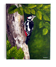 """Original 20 x 16"""" Painting of Bird """"Great Spotted Woodpecker""""  by Judith Rowe"""