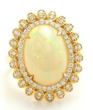 4.94 Ct Natural Ethiopian Opal and Diamonds in 14K Solid Yellow Gold Women Ring