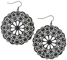 Pierced Earrings Round Dangle Black Enamel Flower Floral Filigree