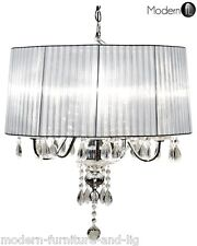 5 LIGHT CRYSTAL DROPLET CHANDELIER WITH SILVER SHADE, CRYSTAL CEILING LIGHT