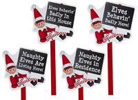 Naughty Elves Behavin' Badly Christmas Elf Large Wooden Garden Post Xmas Sign