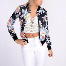 Women Vintage Classic Bomber Jacket Ladies Various Zip Up Biker Coat Outwear Top