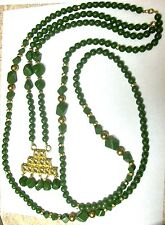"""(Set of 2) Vintage Green Faux Jade 52"""" Necklace + Matching 23"""" Necklace w/2"""" Pen"""