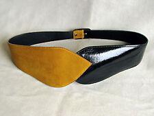 80er Vintage Mode Mieder Gürtel extrabreit 80 cm ✿ gelb schwarz ✿ Suede Corsage