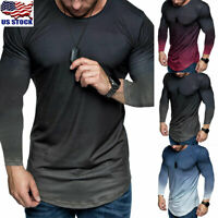 Men's Slim Fit Long Sleeve Casual T-Shirt Crew Neck Shirt Tops Basic Tee Tops US