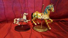 2 Vintage Risin Porcelain  Horse Carousel4 1/2 in  Wood Base  7 in Brass Base