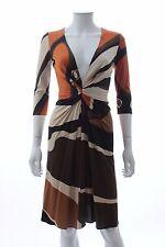 Issa London Silk Jersey Printed Dress / Brown, Orange, Beige