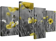 Canvas Pictures of Yellow Poppy Field in Black and White for your Living Room