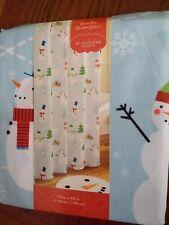 """New Holiday Shower Curtain """"Snow Fun"""" Snowman Polar Bear Penguin Trees 70""""x70"""""""