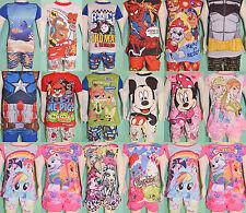 Boy Girl Frozen Pony Minne Angry Thomas Cars Marvel Summer Pyjamas pjs Sz 1-14