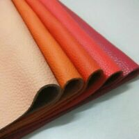 Real Genuine Leather Fabric First Layer Cowhide Hide Cut Orange Scrap Craft Trim