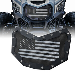 Black Steel Mesh Grille Grill For 2017-2019 2020 Can-Am Maverick X3 Front Bumper